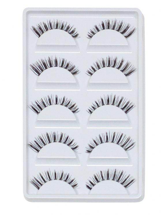 unique Cosmetic 5 Pairs Handmade Natural Criss Cross Eyelashes - BLACK