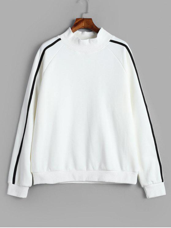 Camisola de mangas raglan listrada de lã - Branco S