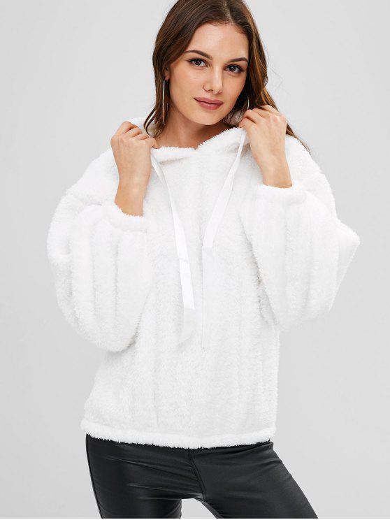 Fluffy Drop Schulter Hoodie - Weiß Eine Größe