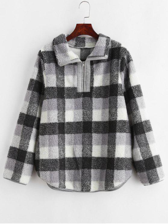 Meia Zip Plaid Faux Fur Sweatshirt - Cinza M