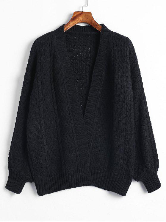 trendy Lantern Sleeves Chunky Cardigan - BLACK ONE SIZE