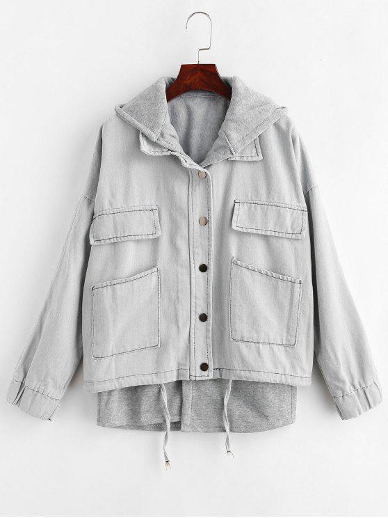 Colete com capuz e Denim Jacket Set - Cinza claro S