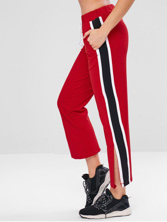 outfit Slit Contrast Side Athletic Pants - RED M
