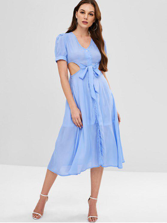 fancy Cut Out V Neck Knotted Dress - LIGHT BLUE M
