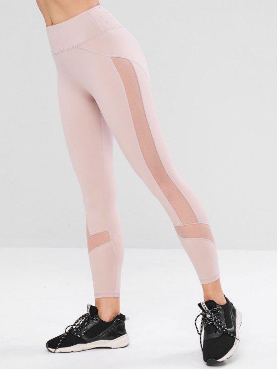 Leggings Sportivi Con Pannello In Tulle - Rosa Chiaro M