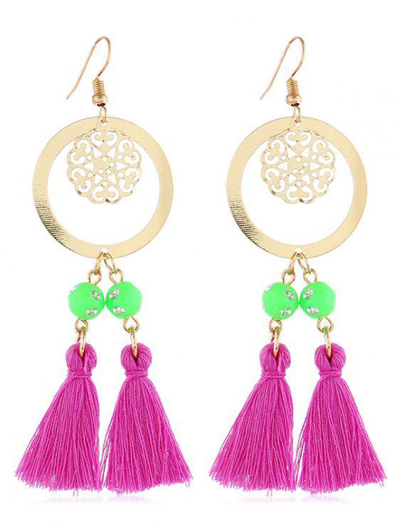 ladies Bohemian Round Shape Tassel Hook Earrings - DARK CARNATION PINK