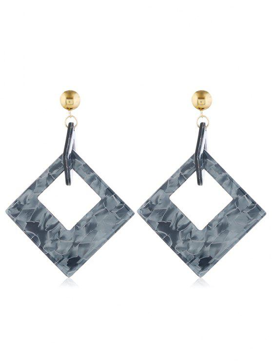 lady Geometric Hollow Rectangular Shape Earrings - GRAY