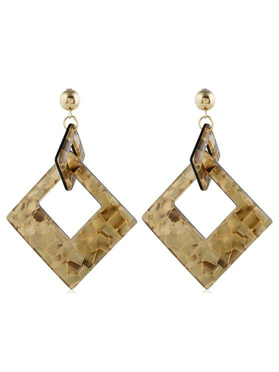 online Geometric Hollow Rectangular Shape Earrings - COFFEE