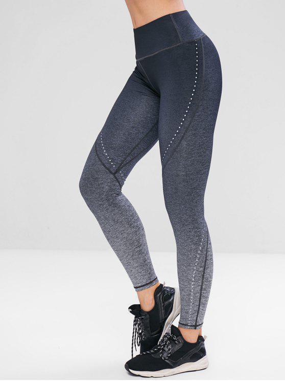 Legging de Sport Ombré Sans Couture - Gris Foncé L