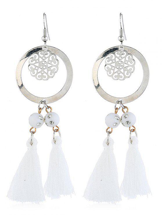 fancy Bohemian Round Shape Tassel Hook Earrings - MILK WHITE