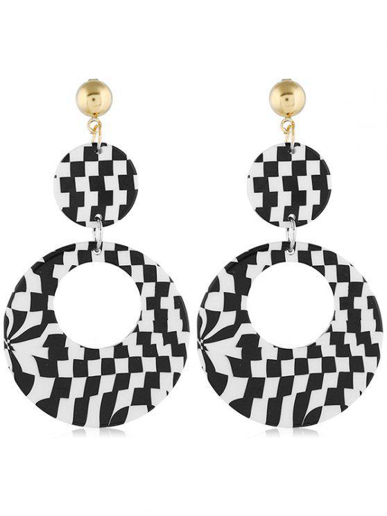 buy Geometric Color Block Design Circle Earrings - BLACK