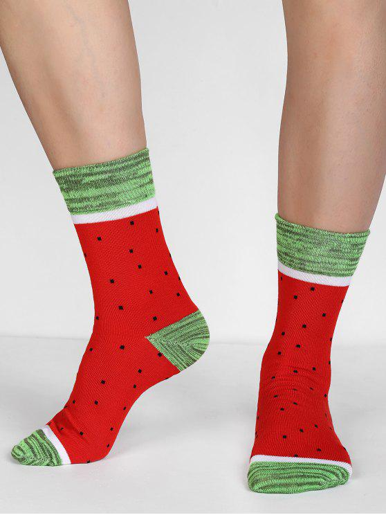outfit Watermelon Print Christmas Socks - RED