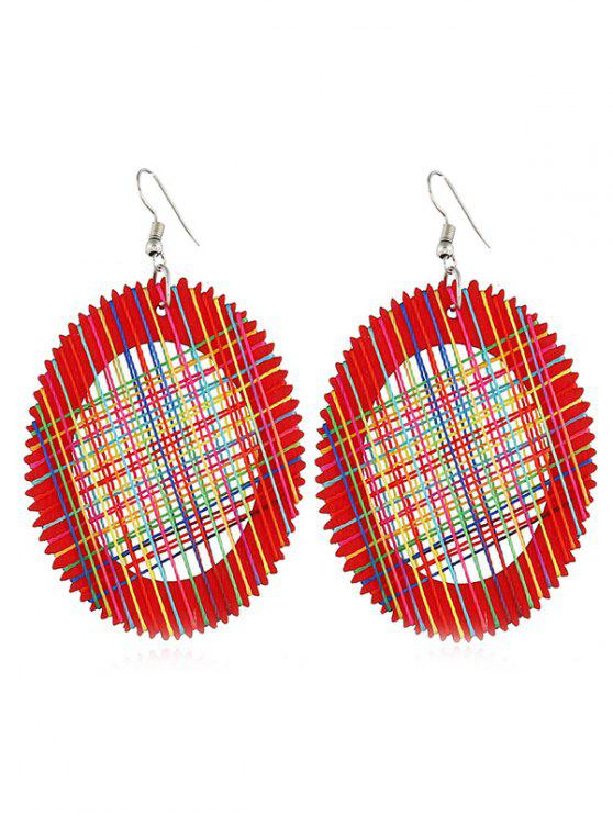 shops Knit Design Oval Shape Pendant Earrings - RED