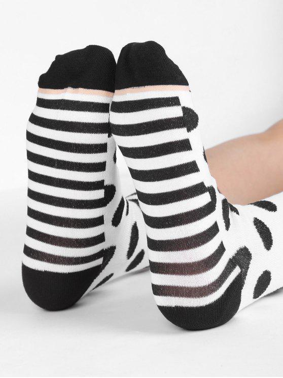 chic Vintage Polka Dot Striped Crew Socks - WHITE