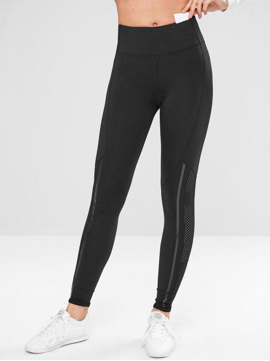 Leggings Con Inserti Perforati - Nero L