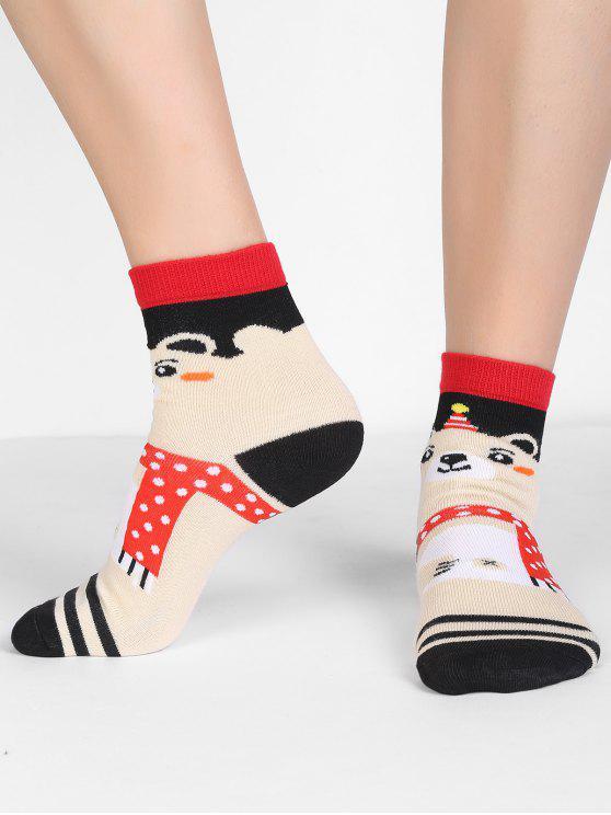 unique Cartoon Bear Stripe Crew Socks - MULTI