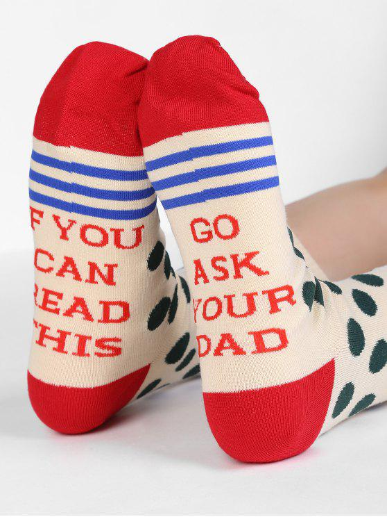women Fun Printed Polka Dot Winter Socks - BEIGE