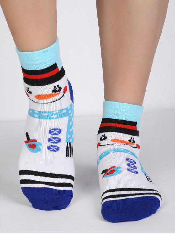online Cartoon Snowman Polka Dot Crew Socks - MULTI