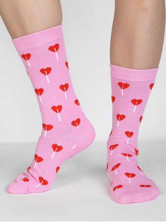 outfits Romantic Heart Printed Winter Crew Socks - LIGHT PINK