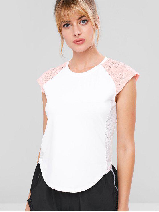 T-shirt Perforé en Blocs de Couleurs à Manches Raglan - Blanc S