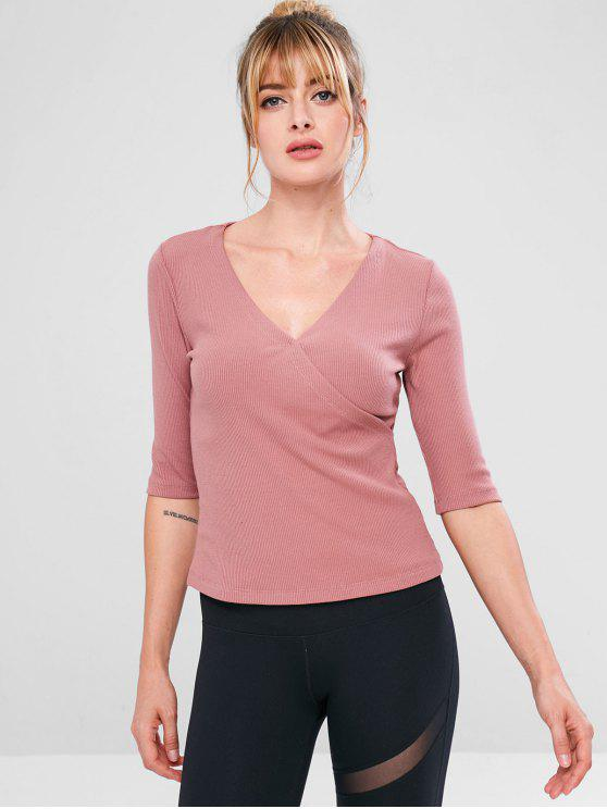 affordable Surplice Ribbed Sport Running Tee - LIPSTICK PINK L