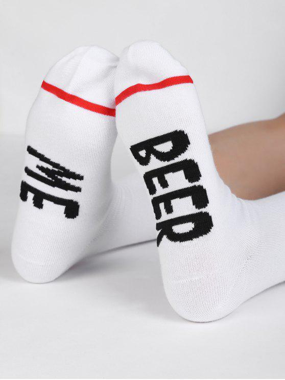 online Novelty BEER ME Pattern Mid Calf Socks - WHITE