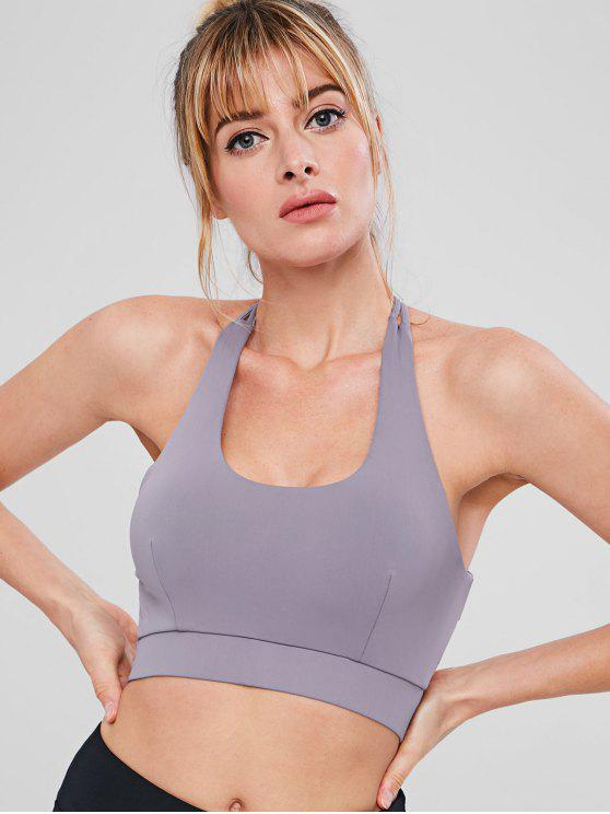 unique Cut Out Sport Gym Bra - VIOLA PURPLE M