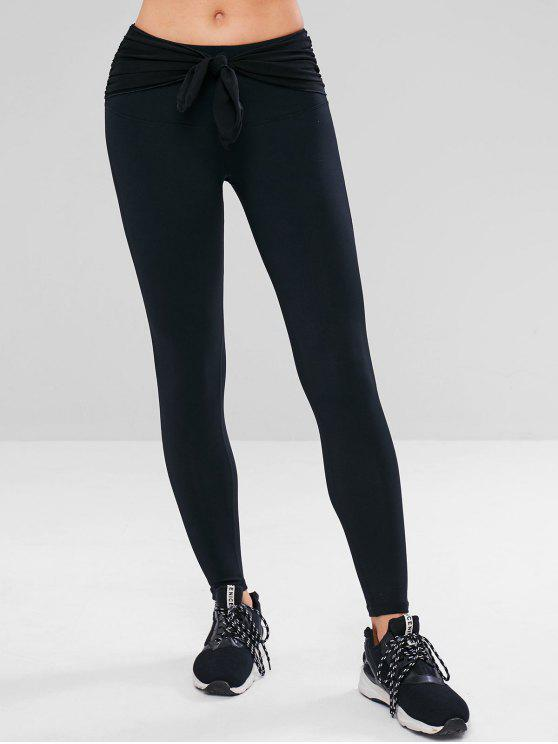 outfit Workout Tied Gym Yoga Leggings - BLACK S