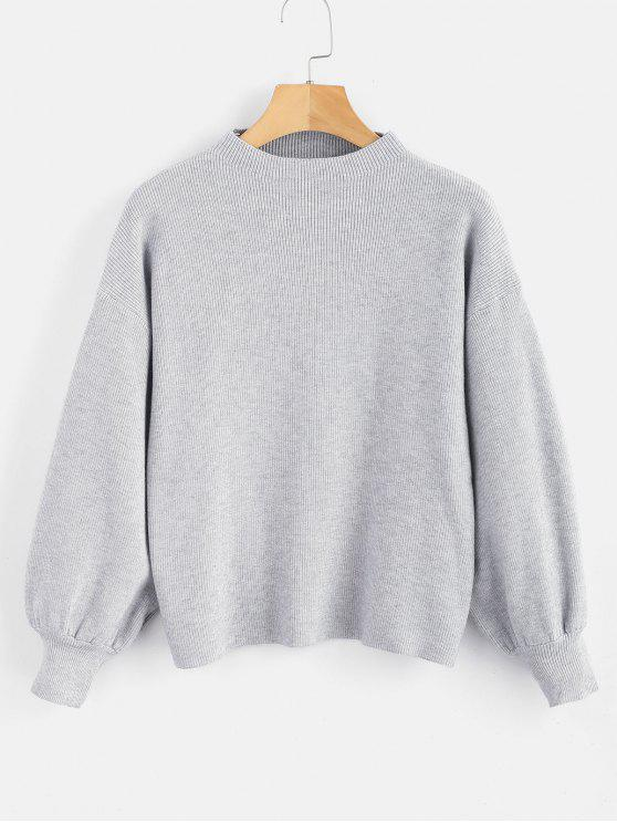 Caída de hombro llano suéter de manga de linterna - Nube Gris Talla única