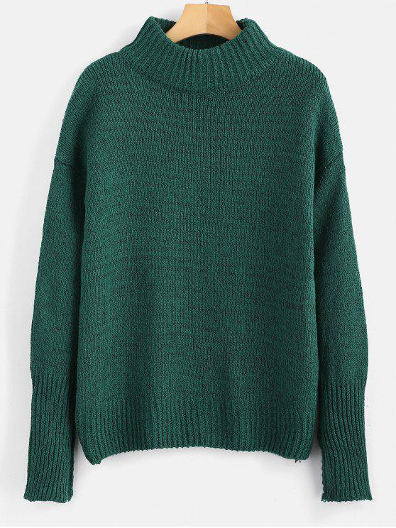 shops Plain Heathered Pullover Sweater - MEDIUM FOREST GREEN ONE SIZE