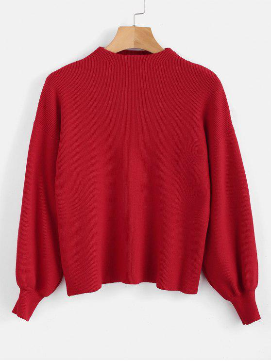 ddb482453faf15 55% OFF] 2019 Drop Shoulder Plain Lantern Sleeve Sweater In LAVA RED ...
