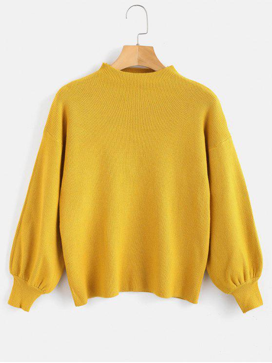 chic Drop Shoulder Plain Lantern Sleeve Sweater - GOLDEN BROWN ONE SIZE