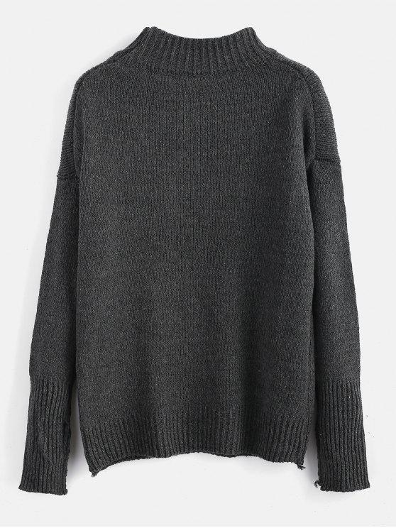 unique Plain Heathered Pullover Sweater - CARBON GRAY ONE SIZE