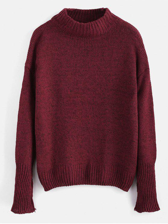 affordable Plain Heathered Pullover Sweater - RED WINE ONE SIZE