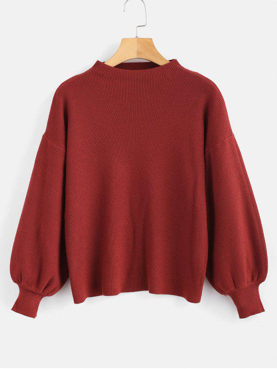women's Drop Shoulder Plain Lantern Sleeve Sweater - RED WINE ONE SIZE