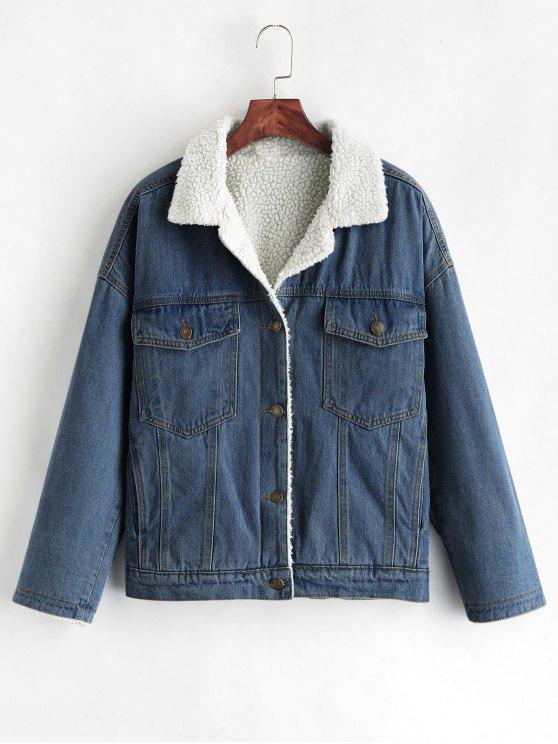 sale Drop Shoulder Fleece Denim Jacket - DENIM DARK BLUE S