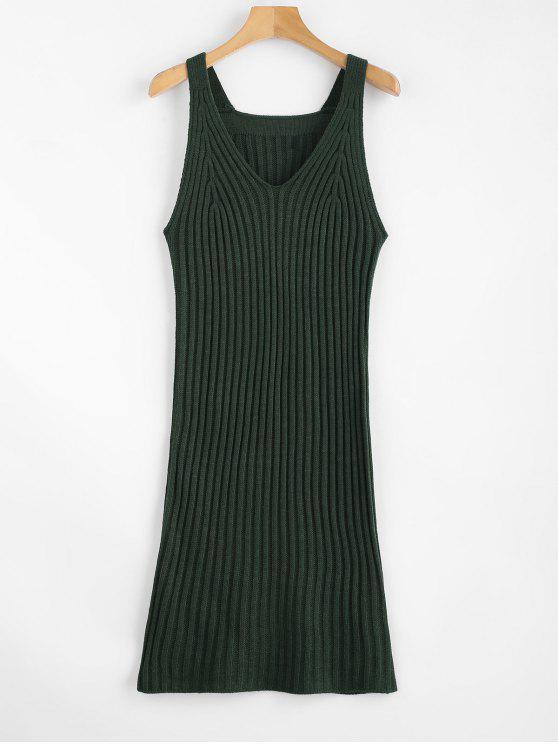 Vestido de malha tanque - Verde profundo Um Tamanho