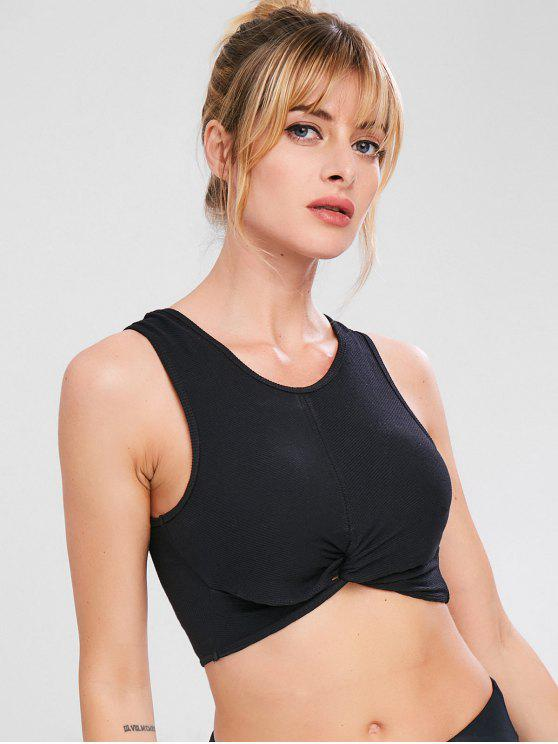 Twist Ribbed Tank Sport Gym Bra - Negro L