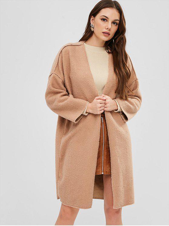 9097df4252 Shoptagr   Faux Shearling Open Front Winter Coat Camel Brown by Zaful