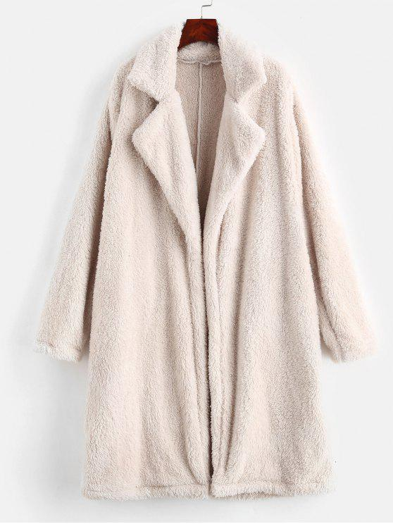 shops Lapel Collar Plain Faux Fur Teddy Coat - BEIGE M