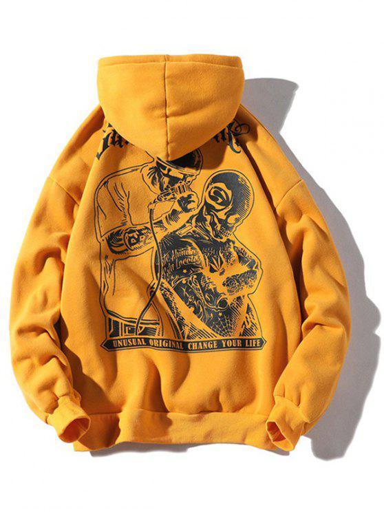 Halloween Skulls Printed Pouch Kangaroo Hoodie - Amarilla de Abeja  3XL