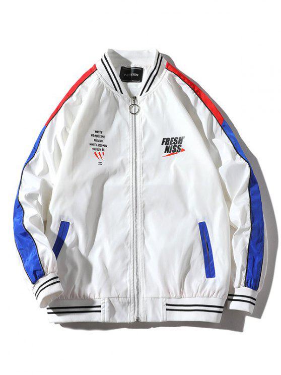 2019 Letter Pattern Color Block Raglan Sleeves Jacket Coat
