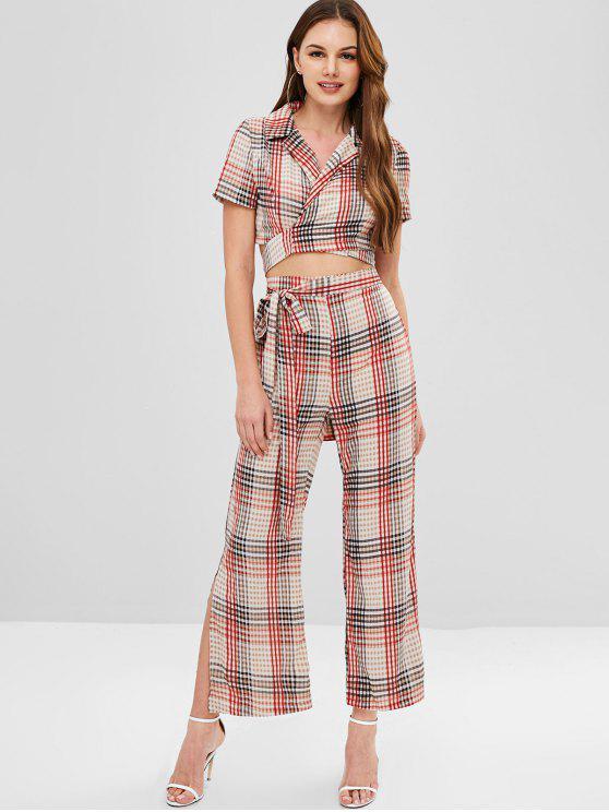 lady ZAFUL Plaid Wrap Top and Slit Pants Set - MULTI XL