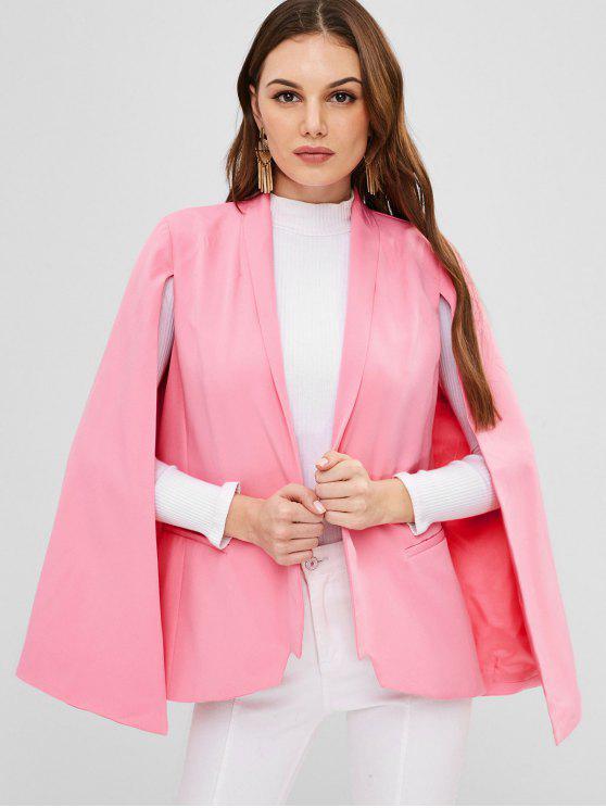 latest ZAFUL Shawl Collar Plain Cape Coat - LIGHT PINK XL