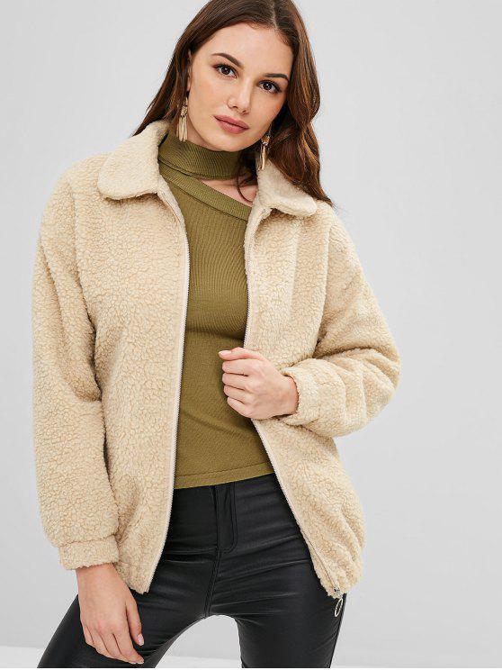 fashion ZAFUL Zip Up Loose Faux Fur Coat - VANILLA L
