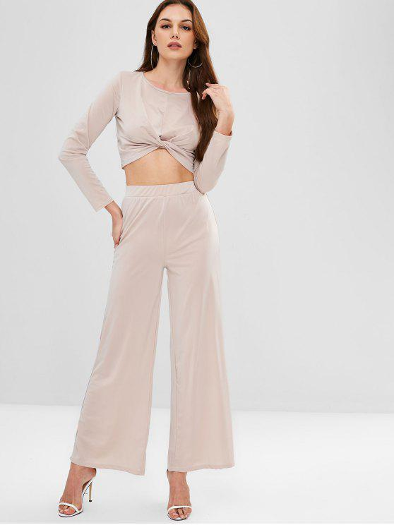 hot ZAFUL Twisted Tee and Wide Leg Pants Set - LIGHT KHAKI L