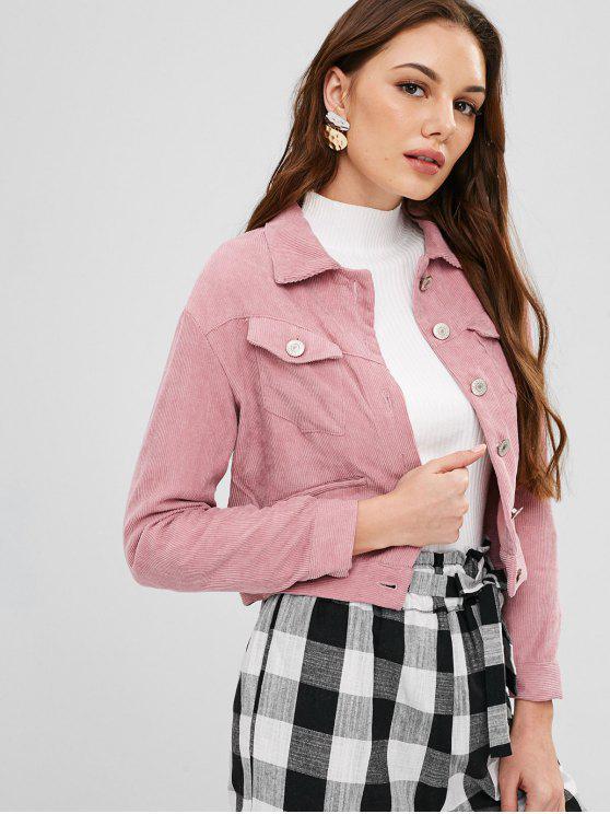 women ZAFUL Button Up Crop Corduroy Jacket - PINK DAISY M