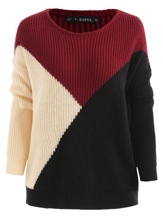 outfit Color Block Tricolor Oversized Sweater - BLACK L