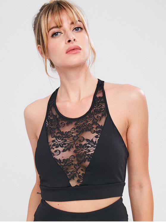 hot ZAFUL Sport Racerback Lace Panel Bra - BLACK L