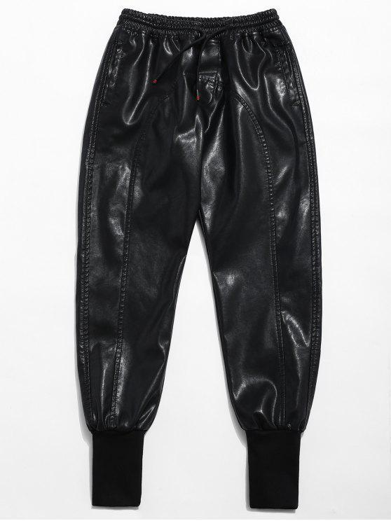 Pantaloni Da Jogging A Vita Elastica In Ecopelle - Nero L
